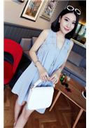 雪纺V领钉珠孕妇连身裙(蓝色)