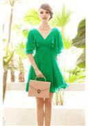 蝴蝶袖深V性感连身裙(绿色)