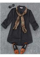 大尺码~OL修身褶皱衬衫+丝巾(黑色)