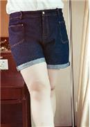大尺码~休闲时尚百搭牛仔短裤(蓝色)