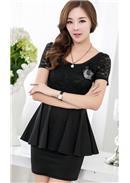 大尺码~魅力修身显瘦包臀短袖连身裙(黑色)