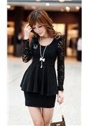 大尺码~修身性感显瘦包臀长袖连身裙(黑色)