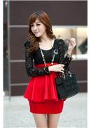 大尺码~修身性感显瘦包臀长袖连身裙(红色)