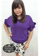 大尺码~簡約清新短袖雪紡上衣(紫色)