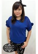 大尺码~簡約清新短袖雪紡上衣(蓝色)